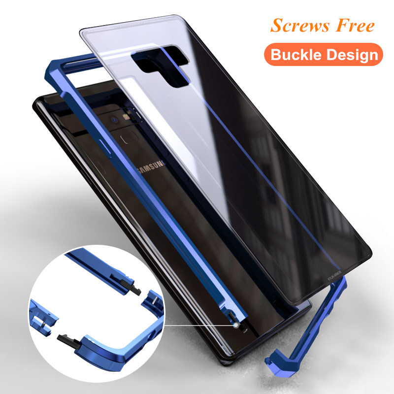 Buckle Design Screws Free Metal Aluminum Frame Case For Samsung Galaxy S8 S9 Plus Note 8 9 S7 Edge Tempered Glass Back Cover