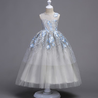 First Communion Dresses For Girls Ball Gown Flower Girl Dress For Wedding Lace Embroidery Kids Party