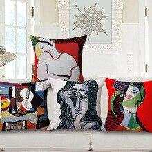 Подушка с Пикассо, чехол для масляной краски, наволочка для подушки с головой King, тонкие льняные хлопковые украшения для спальни и дивана