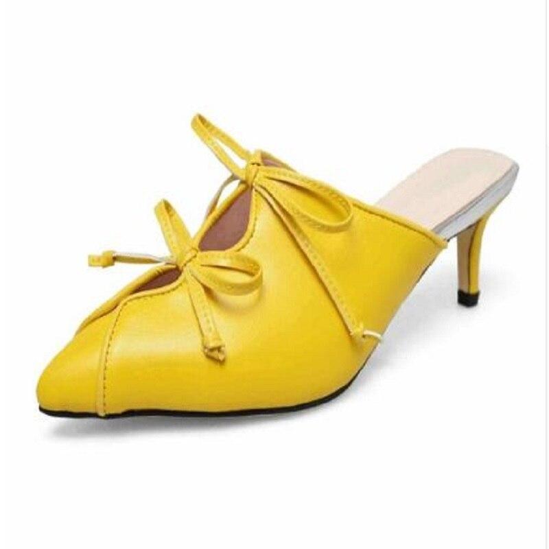 DIJIGIRLS cow leather fashion summer shoes solid colors slip on European sandals med heels original design shallow mules