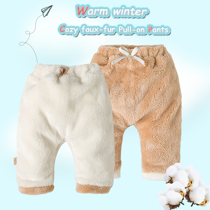 Baby Pants Leggings Newborn Winter Girls Cotton For Boys Faux-Fur Thick Trousers