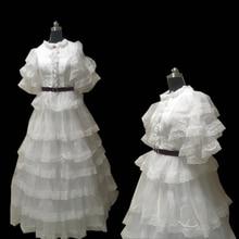 купить New white organza Vintage costumes 18th Duchess Retro medieval Renaissance Reenactment Theatre Civil war Victorian dress D-302 дешево