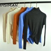 дешево!  DISIMAN 2019 NEW Водолазки  свитера  пуловеры Вязание сплошного цвета Женский облегающий тонкий свит Лучший
