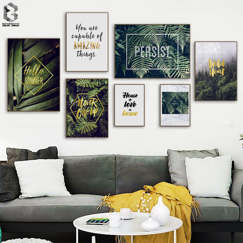 Nordic Canvas Painting Modern Prints Plant Leaf Quotes Art Posters Prints Green Art Wall Pictures Living Room Unframed Poster