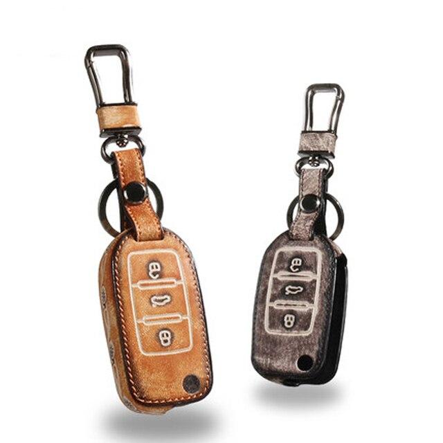 Key Rings For Volkswagen Touareg Magotan Golf 7 Sagitar CC Retro Style Genuine Leather  Free Shipping