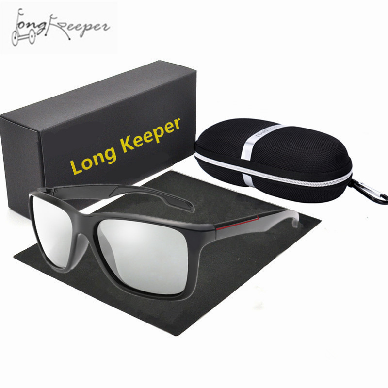 Photochromic Sunglasses Men Polarized Chameleon Discoloration Sun Glasses Cycling Square Driving Accessories With Box For Gift men sunglasses half rim simple style driving square glasses accessory