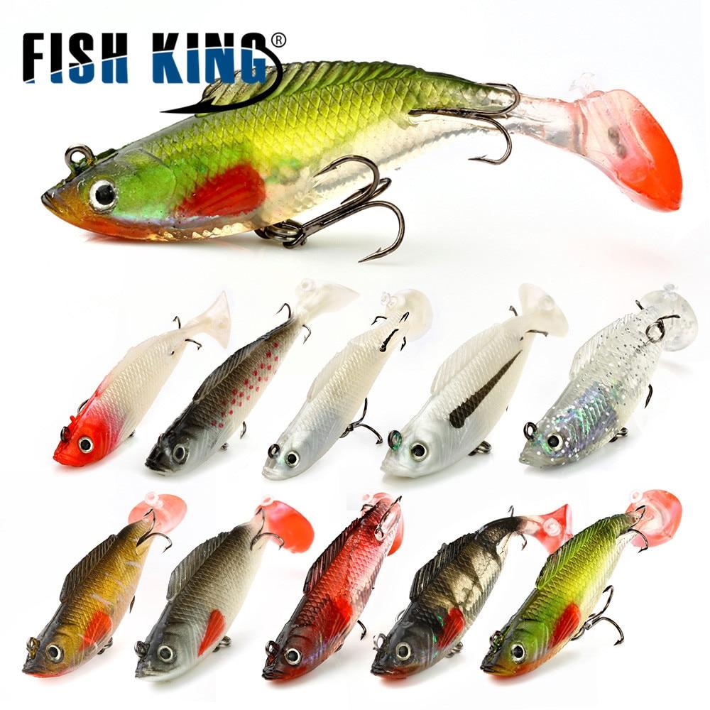 FISH KING 1 PC 3D Eyes 8/10/12CM 8 Color Lure Soft Bait Jig Fishing Lure With Lead Head Fish Swimbait Treble Hook Fishhook Fishi цена
