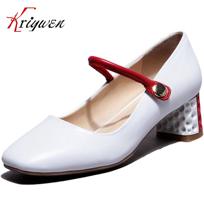 ФОТО 2017 arrive Brand Women's MED high Heels Pumps For Women Dress Classical Sweet Mary Janes Pumps square Toe party wedding shoes