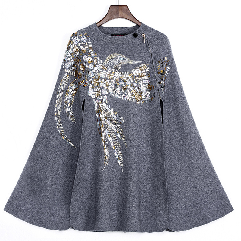 Women Jacket Sale Autumn Winter High Quality 2017 New Runway Coat Women's Stand Collar Luxury Beading Sequin Elegant Knitting