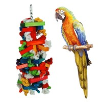 Climbing Toy Parrot Cage Decor Toy Bird Colorful Wooden Blocks Chew Bite Toy With Cotton Rope For Agapornis Random Color