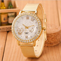 Women Ladies Crystal Butterfly Gold Stainless Steel Mesh Band Wrist Watch supper deal 2016 dec08