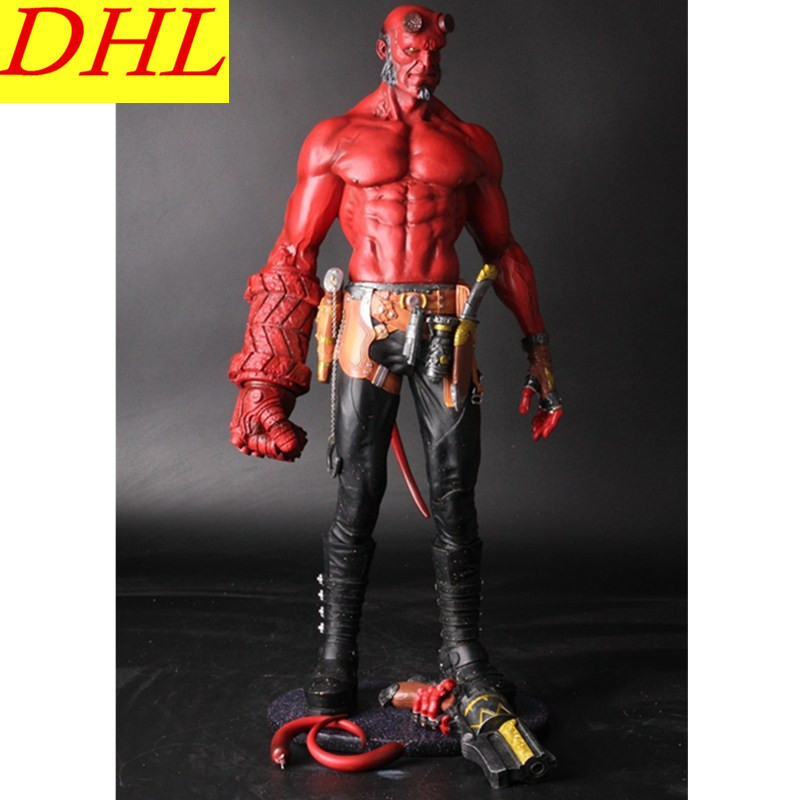 Movie HB Hellboy Series Smoking With Includes Samaritan Handgun Cartoon Toy PVC Action Figure Model Doll Gift L2139 20cm 7 hellboy action figure wounded hellboy includes samaritan handgun cool hb collectible model toy