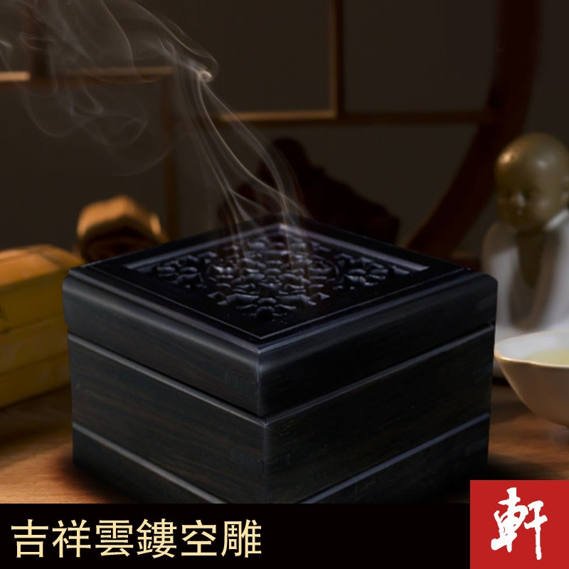 Porch rafters GE manual three-tiered purple sandalwood incense burner furnace black sandalwood aroma incense wood furnace