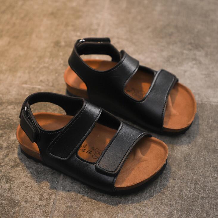 New Summer Kids Sandals Boy Girls Fashion Student Pu Leather Children Beach Sandals Non-slip Casual Flat Sandals Comfortable