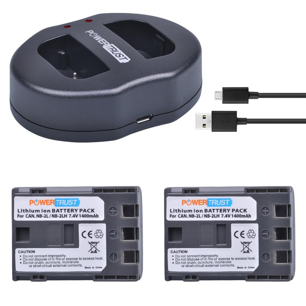 2 stücke 1400 mah NB-2L NB-2LH NB 2L NB2LH batterie + Dual USB Ladegerät für Canon EOS 400D S80 S70 s50 S60 350D G7 G9 Kuss N X Rebel XT