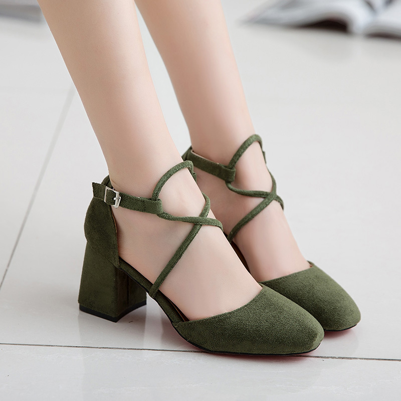 Shoes Woman 2017 Summer Square Head High Heels Fashion Suede Shallow Mouth Women Shoes Normal Size 35-39 High 4CM Zapatos Mujer