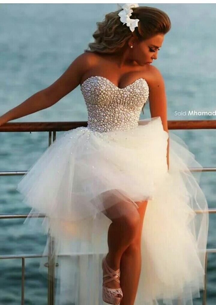 vestidos de novia high low wedding dresses short wedding dress sexy sweetheart pearls crystals beaded plus size in wedding dresses from weddings events on