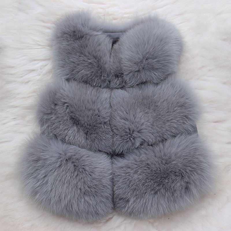 2017 Children Real Fox Fur Vest Autumn Winter Warm Girls Waistcoats Short Thick Vests Kids Gray Color Natural Casual Vest V#24 new autumn winter parent child women red fox fur hats warm knitted beanies real fur cap high quality kitting female fur hat