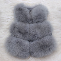 2017 Children Real Fox Fur Vest Autumn Winter Warm Girls Waistcoats Short Thick Vests Kids Gray Color Natural Casual Vest V#24