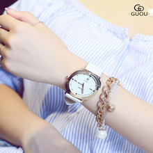 GUOU Style time model of evening luminous Wrist watches easy good-looking calendar hour belt Ladies's watches relogio feminino