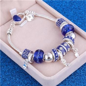 Pink Crystal Charm Silver Bracelets & Bangles for Women  Beads Silver Bracelet Femme Jewelry 30