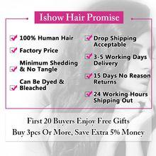 Ishow Hair Kinky Прямые Пучки Человеческих Волос Плетение Индийских Пучков Волос Non-Remy 1 Шт.