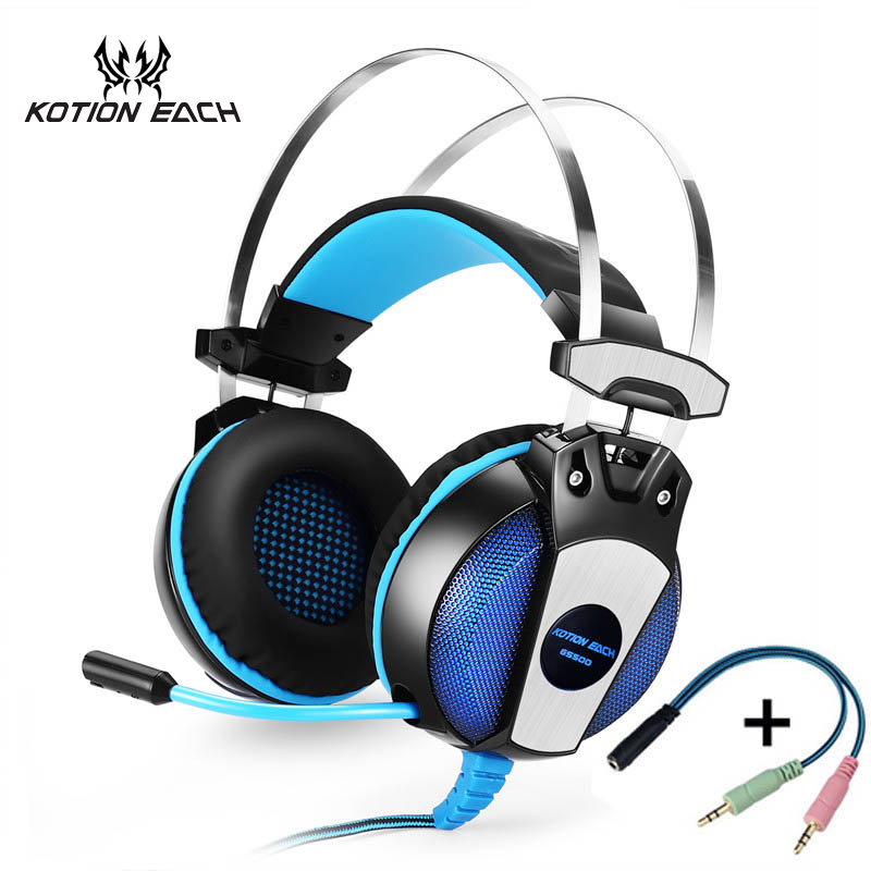 KOTION EACH GS500 3.5mm Gaming Headset Stereo Bass Headphone with mic for computer xbox one ps4 playstation4 Laptop pc gamer huhd 7 1 surround sound stereo headset 2 4ghz optical wireless gaming headset headphone for ps4 3 xbox 360 one pc tv earphones