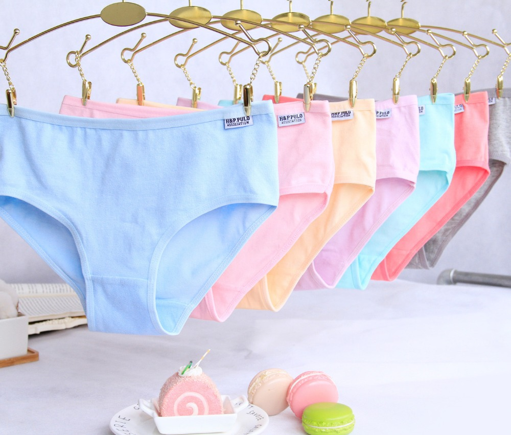 4pcs / Lot Candy Culoare Kid Girls Chiloți Lenjerie de corp Soild Briefs Lenjerie de bumbac Soft Panty ConfortNH0008