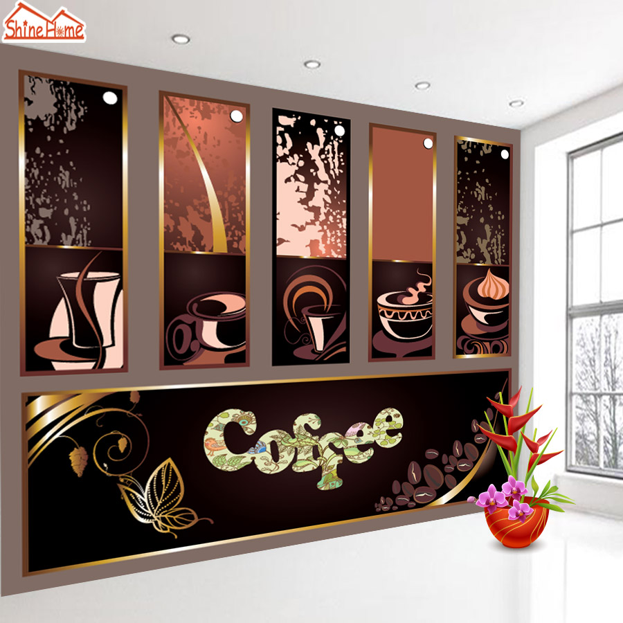ShineHome-Coffee Cafe Tea Bar 3d Wallpaper for Walls 3 d  Living Room Restaurant Background Wallpapers Mural Roll Wall Paper shinehome lovely lily blossom flower wallpaper for bedroom murals roll for 3d walls wallpapers for 3 d living room wall paper