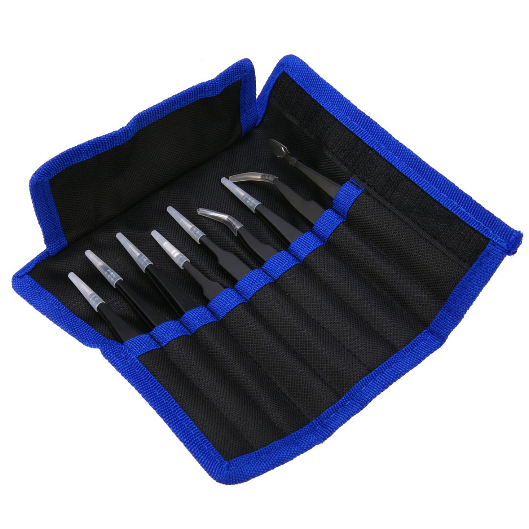9 piezas de precisión de acero inoxidable pinzas Set antiestático Kit de herramientas de reparación para SMD Chip joyería reparación electrónica herramientas de mano