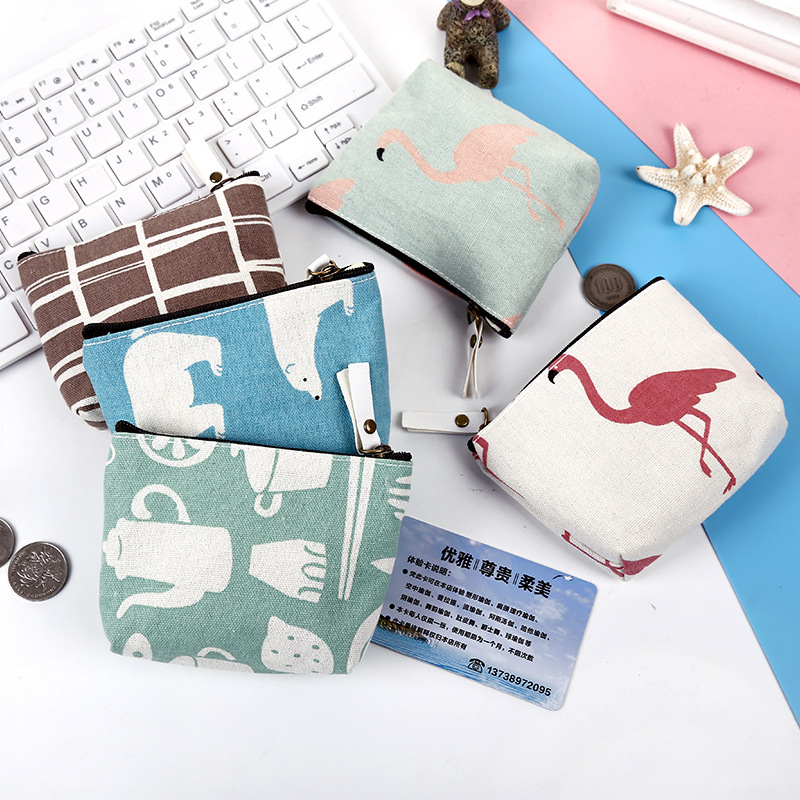 PACGOTH 2017 New Cartoon Printing Canvas Coin Purse Fashion Animal Prints Bear Flamingo Pattern Mini Zipper Coin Bags 1 Piece pacgoth japanese and korean style pu leather coin purse casual animal prints cute cats hot lip pattern zipper cash pouch 1 piece