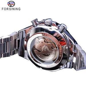 Image 4 - Forsining Fashion Men Watches Male Top Brand Auto Mechanical Watch Calendar Waterproof Sports Steel WristWatch Relogio Masculino