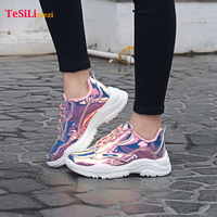 New Arrival Purpl Woman Sports Shoes Lace Up Rubber Wear resistant outsole Sneakers Sequins Fashion Girls Sport Shoes For Woman