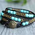 Triple Turquoise Strand with Antiqued Copper Natural Turquoise On Black Leather Strand Bracelet Handmade For Women