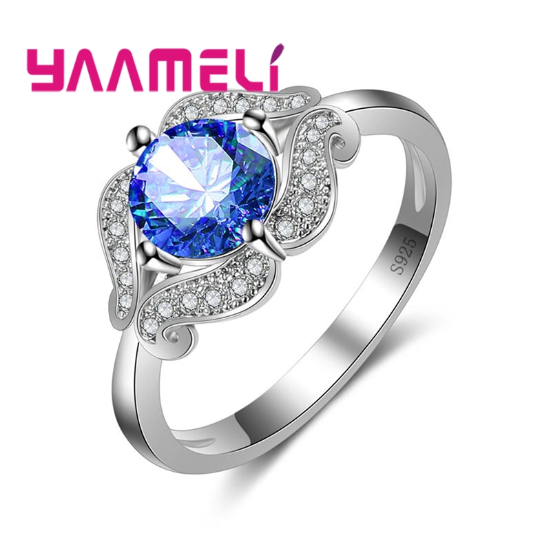 YAAMELI Special Design Finger Rings Round Colorful Cubic Zirconia For Women Girls 925 Sterling Silver Crystal Jewelry Present