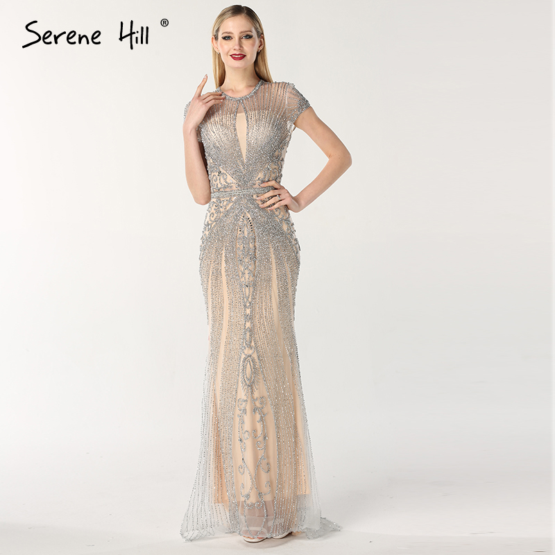 2019 Luxury Sleeveless   full diamond o neck  Sexy Evening Dresses Dubai Design Beading Evening Gowns Serene Hill LA60742(China)