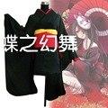 Традиционные японские Аниме Женщины Черный Короткие Furisode Кимоно Косплей Костюм