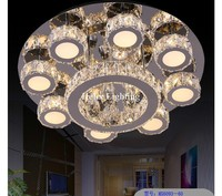 Newly Modern Hot Sale LED Crystal Ceiling Light Fixture AC Ring K9 Crystal Flush Mounted Lighting