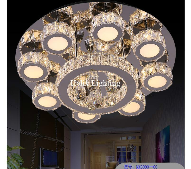 цены Newly Modern Hot Sale LED Crystal Ceiling Light Fixture AC Ring K9 Crystal Flush Mounted Lighting Clear Crystal LED Lighting