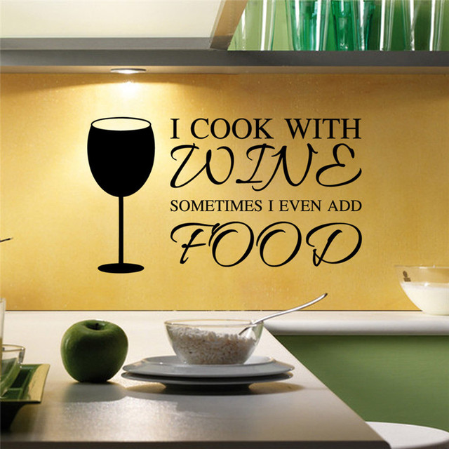 PVC I Cook with Wine Glass Kitchen Art Quote Removable Vinyl Wall ...