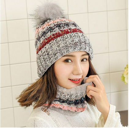 Pompoms Fur Knitted Winter Hats For Women Pom Poms Skullies Beanies Thick Winter Hats + collar Ball Female Beanies Caps Warm Hat wholesale two fur ball pompon solid beanie hats pom poms hats winter warm skullies