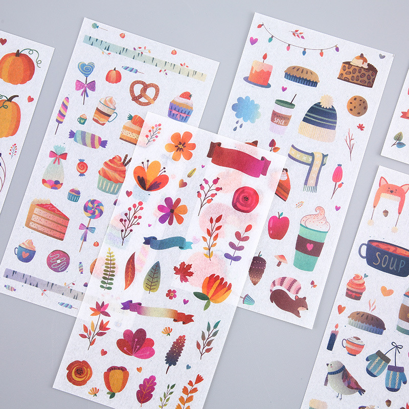 6 Sheets/pack Autumn Forest Party Decorative Stationery Stickers Scrapbooking Diy Diary Album Stick Lable