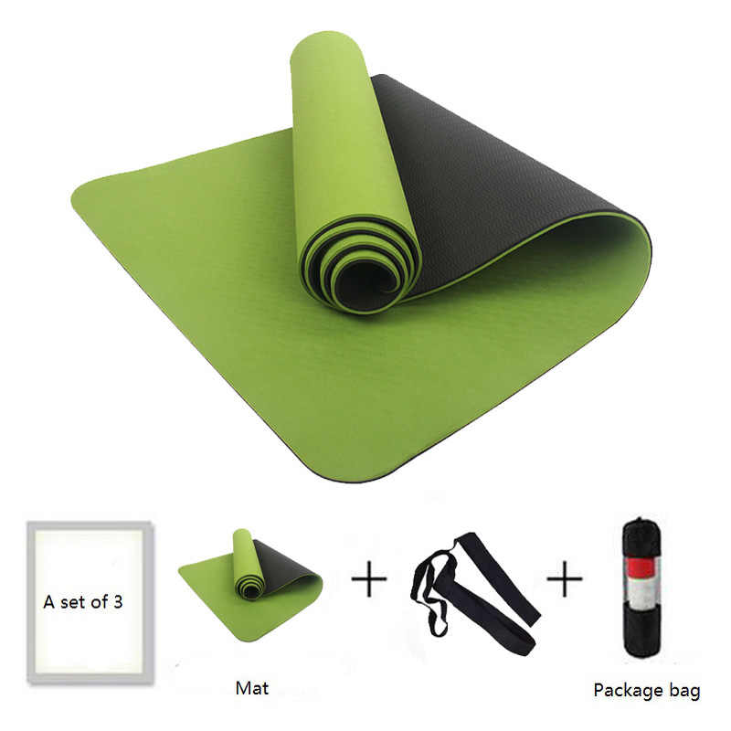 6MM No-slip Yoga Mat TPE Sport Yoga Gym 183cm Mat Fitness Esterilla Pilates Gymnastics Camping Colchonete Pad With Bag Bandage