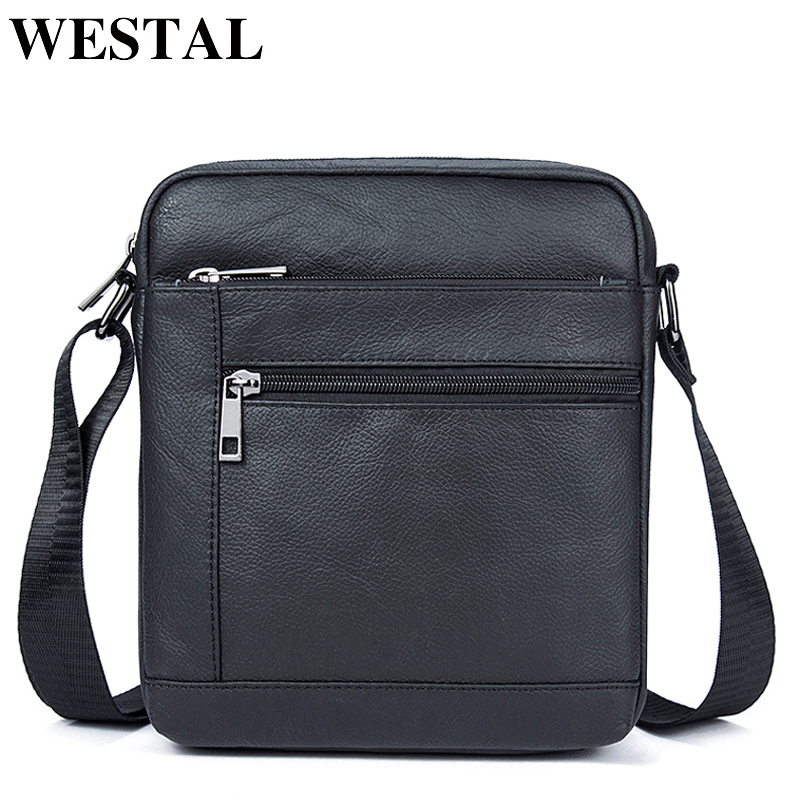 WESTAL Men's Shoulder Bags Men's Bag Genuine Leather Black Crossbody Bags for Men Small Flap Male Messenger Bag Men Leather 7604(China)