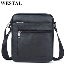 WESTAL Mens Shoulder Bags Mens Bag Genuine Leather Black Crossbody Bags for Men Small Flap Male Messenger Bag Men Leather 7604
