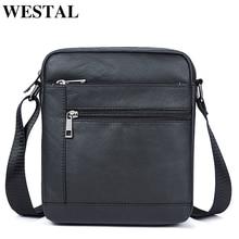 WESTAL sacs à bandoulière en cuir véritable noir pour hommes, sac à épaule à rabat, sacoche 7604
