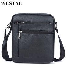 WESTAL الرجال حقائب كتف حقيبة رجالية جلد طبيعي أسود حقائب كروسبودي للرجال رفرف صغير الذكور حقيبة ساعي بريد للرجال جلد 7604