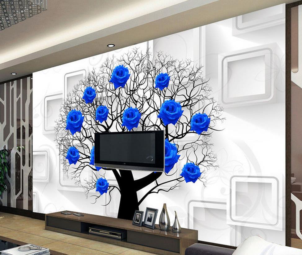 Online Get Cheap Wallpaper 3d Biru Mawar Aliexpresscom Alibaba