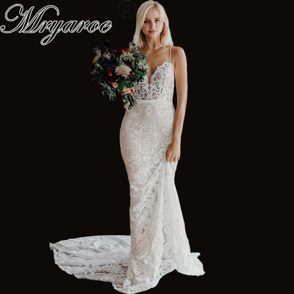 Mryarce 2019 Luxury Exquisite Lace Mermaid Wedding Dress Spaghetti Straps Open Back Bridal Gowns