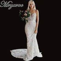 Mryarce 2019 Luxury Exquisite Lace Mermaid Wedding Dress Spaghetti Straps Open Back Bridal Gowns